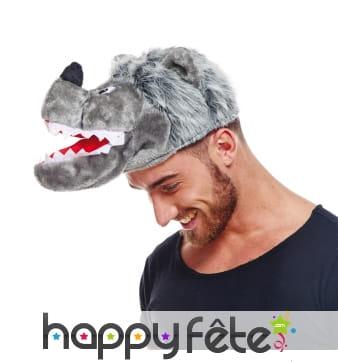 Chapeau tête de loup gris pour adulte
