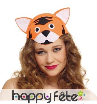 Chapeau tête de tigre pour adulte