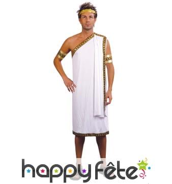 Costume tunique grecque blanche pour homme