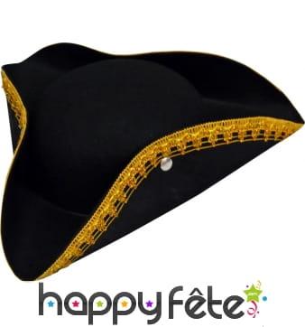 Chapeau tricorne noir bord doré
