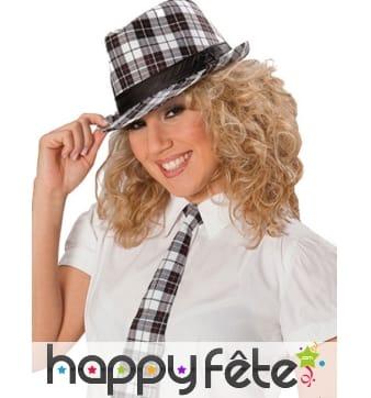 Cravate tartan noir et blanc pour femme