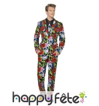 Costume trois pièces motifs jour des morts colorés