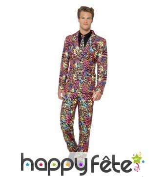 Costume trois pièces néon multicolore
