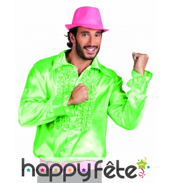 Chemise verte disco satinée pour homme