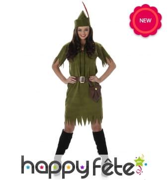 Costume vert de femme robin des bois