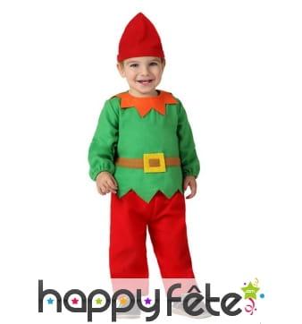 Costume vert et rouge de mini lutin de Noël