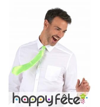 Cravate verte fluo, attache élastique