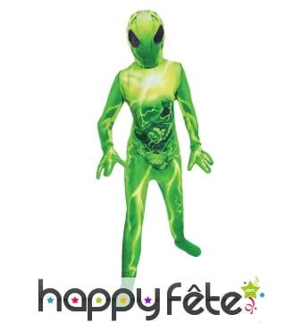 Combinaison verte intégrale d'enfant Alien