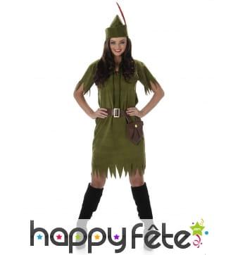 Costume vert kaki de femme des bois