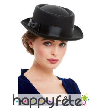 Chapeau victorien noir pour femme