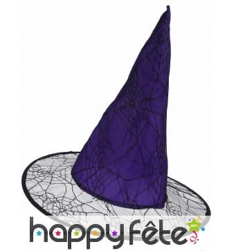 Chapeau violet pointu effet toile araignée, adulte