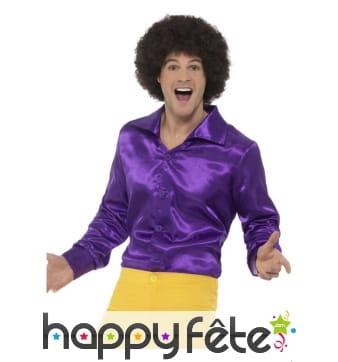 Chemise violette pour homme style années 60