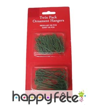 Crochets verts pour boules de Noël