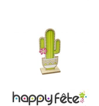 Cactus vert sur pied avec fleur, 14 cm