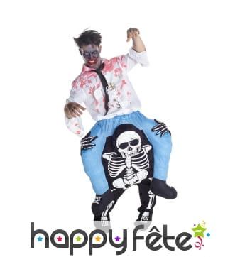 Costume zombie à dos de squelette