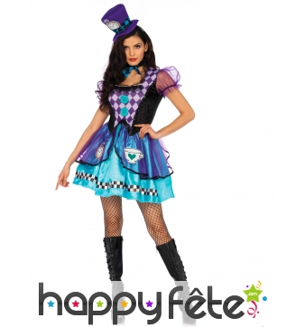 Déguisement Alice courte jupe violet femme