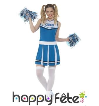 déguisement bleu de pom pom girl américaine