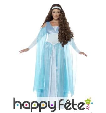 Déguisement bleu de princesse médiévale