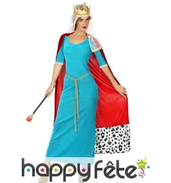 Déguisement bleu de reine médiévale pour femme