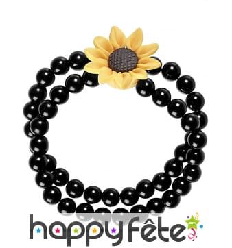 Double bracelet de perles noires avec tournesol