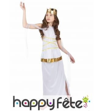 Déguisement blanc et doré de petite déesse Grecque