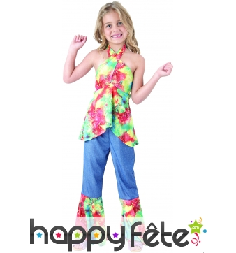 Déguisement bleu et coloré de petite hippie