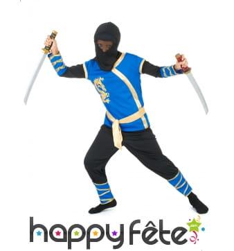 Déguisement bleu et doré de ninja pour enfant