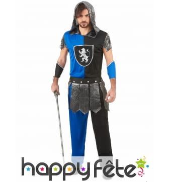 Déguisement bleu et noir de chevalier pour homme