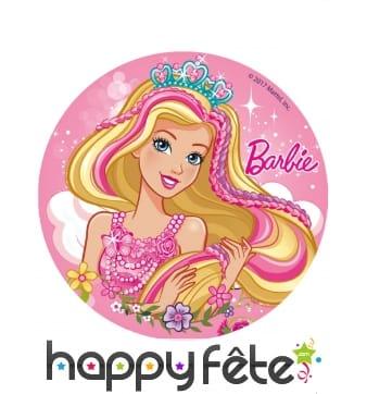 Disque Barbie en sucre de 16cm