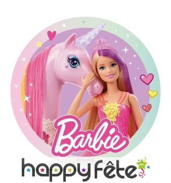 Disque Barbie et sa licorne magique en azyme 20cm