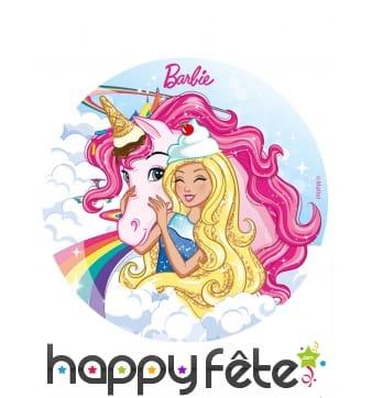 Disque Barbie et sa Licorne rose en sucre 20 cm