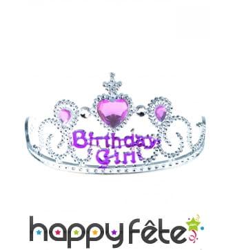 Diadème Birthday girl rose argent