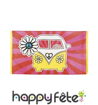 Drapeau Bus Hippie jaune rose de 90x150cm