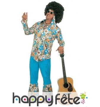Déguisement bleu imprimé hippie pour homme