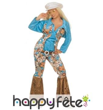Déguisement bleu motif hippie pour femme adulte