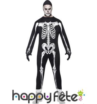 Déguisement blanc noir squelette homme