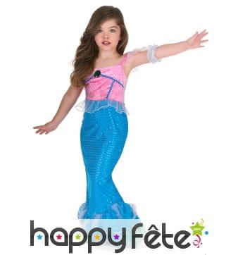 Déguisement bleu rose de sirène pour enfant