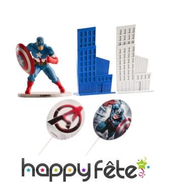 Décorations Captain America pour gâteau, 8 cm