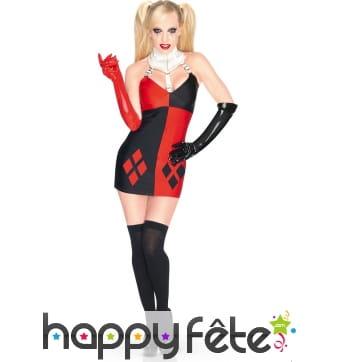 Déguisement court de Harley Quinn pour femme