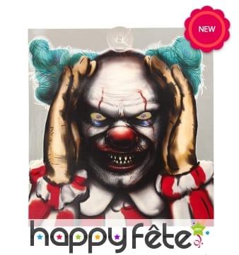 Décor clown lumineux de Halloween pour fenêtre