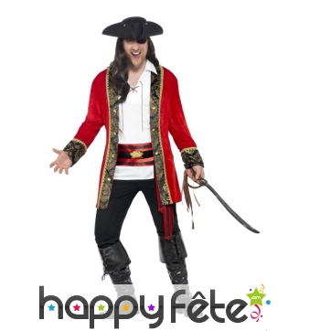 Déguisement capitaine pirate rouge grande taille