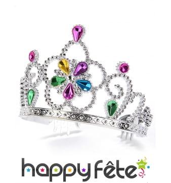 Diadème couronne serti de pierres colorées