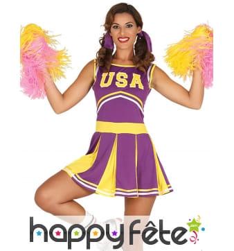 Déguisement Cheerleader violet et jaune pour femme