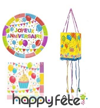 Déco d'anniversaire imprimé Ballons multicolores