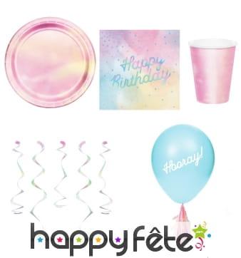 Déco d'anniversaire rose iridescentes pour table