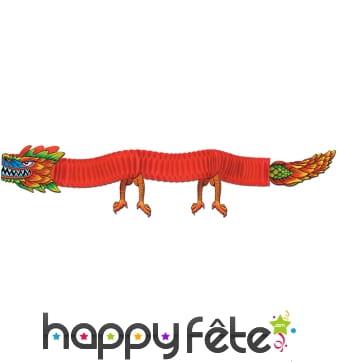 Dragon décoratif avec corps en papier crépon 180cm