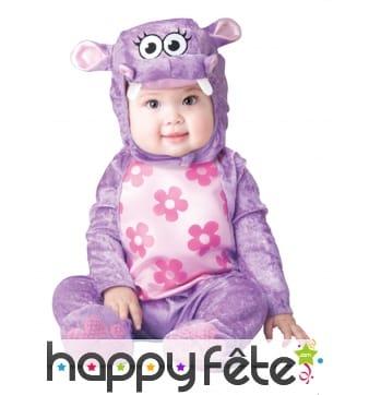 Déguisement de bébé hippopotame violet