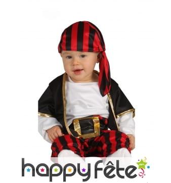 Déguisement de bébé pirates rayé rouge et noir