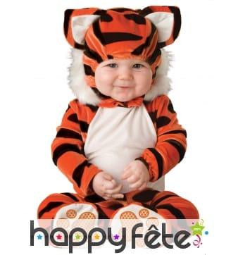 Déguisement de bébé tigre avec cagoule