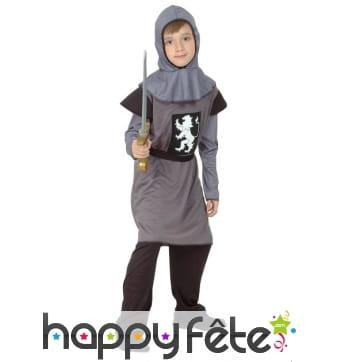Déguisement de chevalier médiéval gris pour enfant